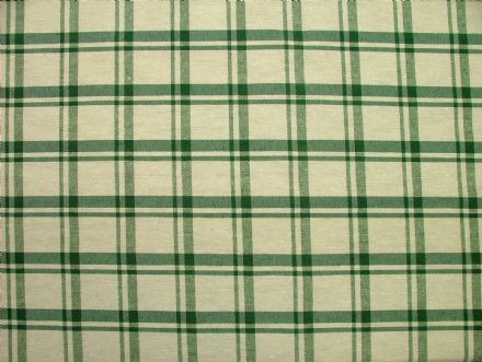 Prestigious Textiles Bottle Green / Off White Check  Curtain / Soft Furnishing Fabric
